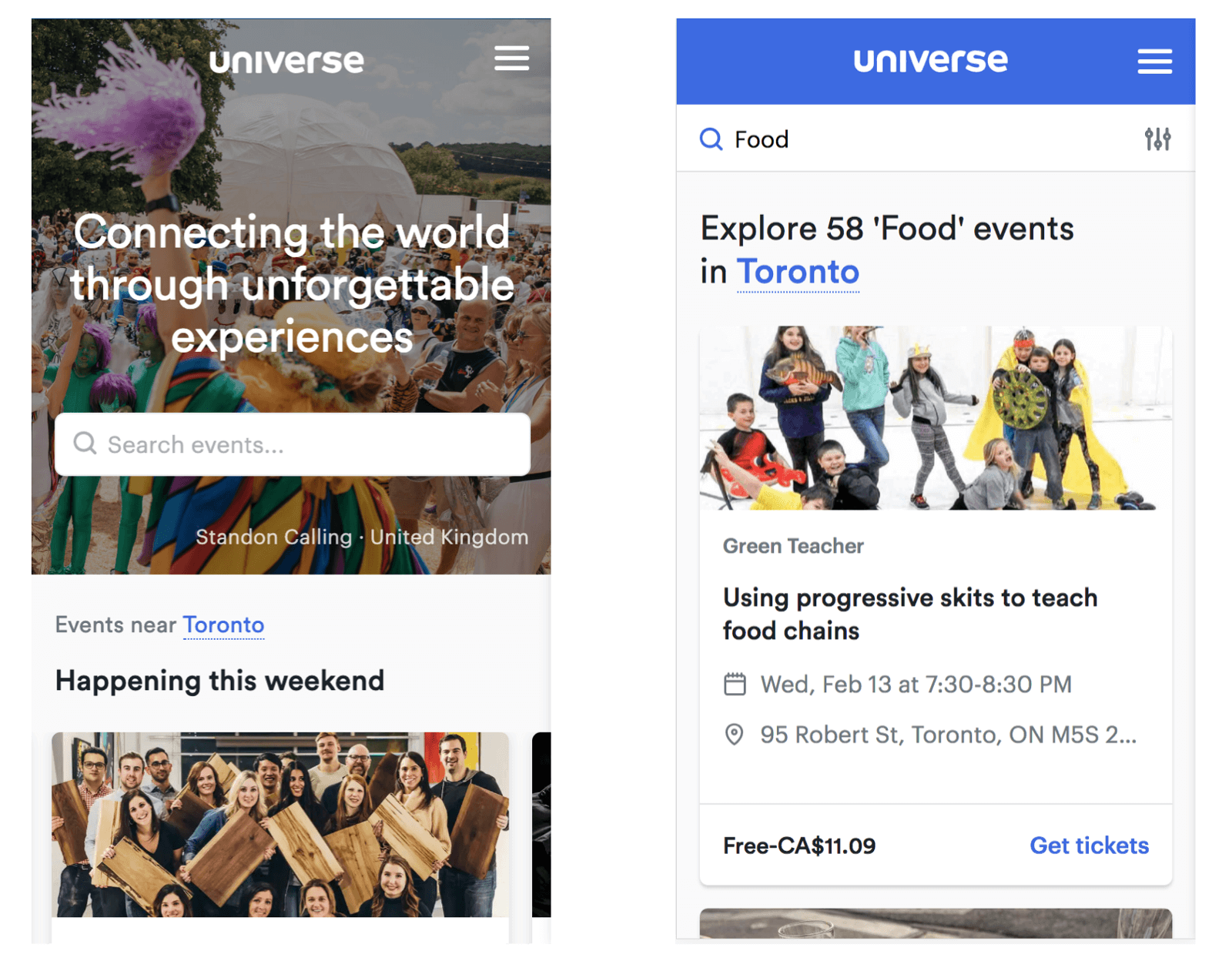 Universe homepage and explore